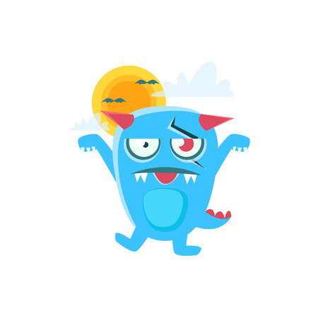 Zombie Blue Monster With Horns And Spiky Tail. Silly Childish Drawing Isolated On White Background. Funny Fantastic Animal Colorful Vector Sticker. Illustration
