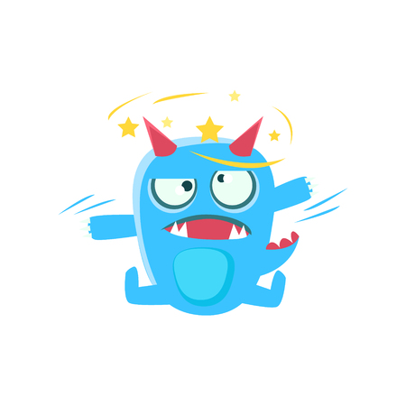 Blue Monster With Horns And Spiky Tail With Stars Before Eyes. Silly Childish Drawing Isolated On White Background. Funny Fantastic Animal Colorful Vector Sticker.