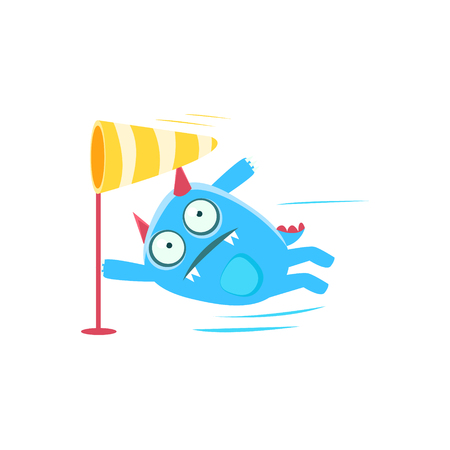 wind blown: Blue Monster With Horns And Spiky Tail Blown By The Wind. Silly Childish Drawing Isolated On White Background. Funny Fantastic Animal Colorful Vector Sticker.