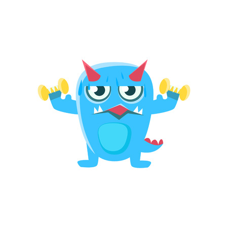 spiky: Blue Monster With Horns And Spiky Tail Working Out In Gym. Silly Childish Drawing Isolated On White Background. Funny Fantastic Animal Colorful Vector Sticker.