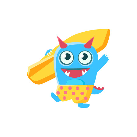 spiky: Happy Blue Monster With Horns And Spiky Tail With Surfboard. Silly Childish Drawing Isolated On White Background. Funny Fantastic Animal Colorful Vector Sticker.