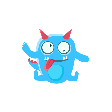 dizzy: Dizzy Blue Monster With Horns And Spiky Tail. Silly Childish Drawing Isolated On White Background. Funny Fantastic Animal Colorful Vector Sticker.
