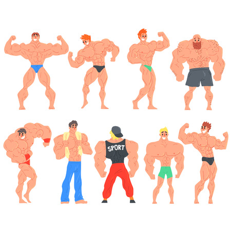 muscly: Muscly Bodybuilders Funny Characters Set. Cartoon Fun Style Vector Illustrations Isolated On White Background.