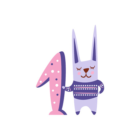 rabbit standing: Rabbit Stylized Funky Animal Standing Next To Number One. Weird Colorful Flat Vector Illustration For Kids On White Background, Illustration