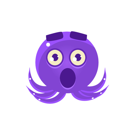 Shocked Funny Octopus Emoji. Cute Vector Emoticon In Cartoon Childish Style Isolated On White Background.