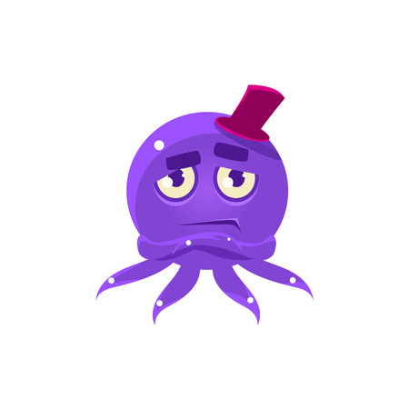 Snobbish Funny Octopus In Top Hat Emoji. Cute Vector Emoticon In Cartoon Childish Style Isolated On White Background.