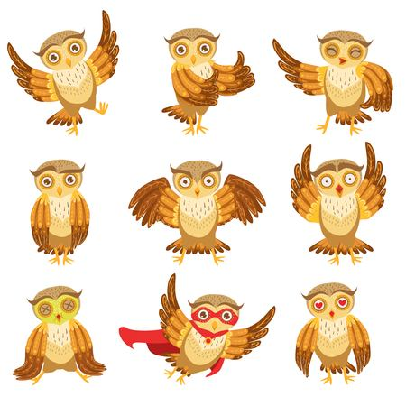 pissed off: Cute Brown Owl Emoji Icon Set.Cute Brown Owl Everyday Activities Icon Set. Stylized Bird Character In Different Situations Creative Design Bright Vector Illustrations. Illustration