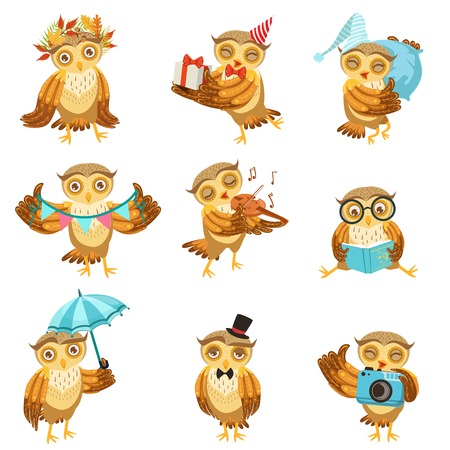 Cute Brown Owl Everyday Activities Icon Set. Stylized Bird Character In Different Situations Creative Design Bright Vector Illustrations. Vetores