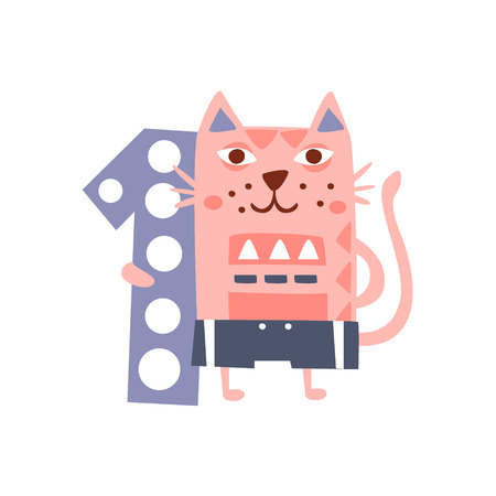 one animal: Cat Standing Next To Number One Stylized Funky Animal. Weird Colorful Flat Vector Illustration For Kids On White Background,
