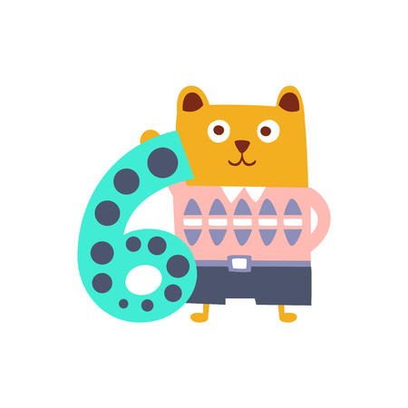 Bear Standing Next To Number Six Stylized Funky Animal. Weird Colorful Flat Vector Illustration For Kids On White Background, Illustration