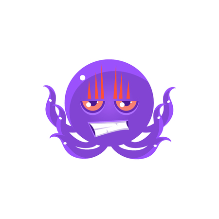 enraged: Angry Funny Octopus Emoji. Cute Vector Emoticon In Cartoon Childish Style Isolated On White Background.