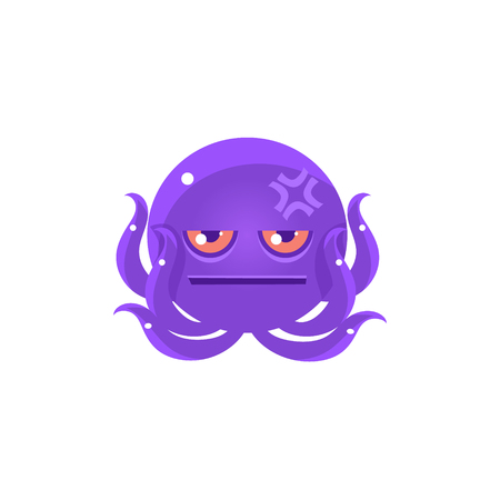 pissed off: Funny Octopus With Headache Emoji. Cute Vector Emoticon In Cartoon Childish Style Isolated On White Background.