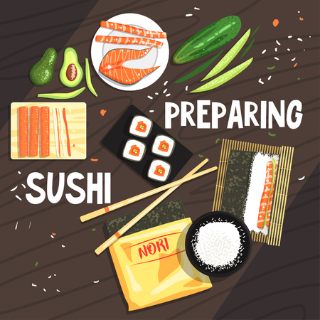 prepare: Preparing Sushi Ingredients And Technique. National Cuisine Dish Cooking Process Illustration With Text. Vector Cute Cartoon Simple Drawing. Illustration
