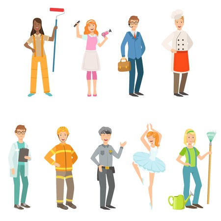 pointes: People With Different Professions In Classic Outfits Set. Simple Bright Vector Illustrations Isolated On White Background.