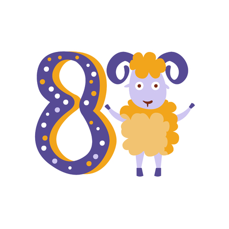 weird: Ram Standing Next To Number Eight Stylized Funky Animal. Weird Colorful Flat Vector Illustration For Kids On White Background, Illustration