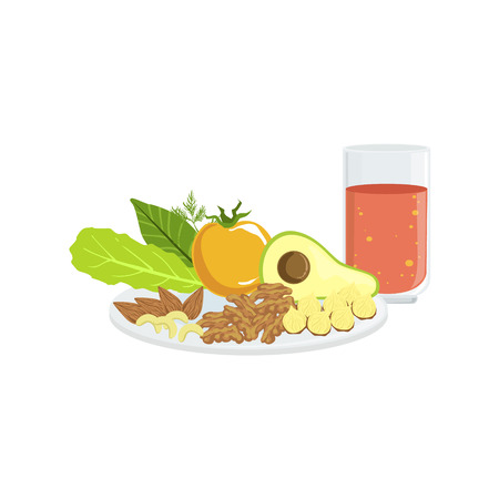 tomato juice: Vegetables, Nuts And Tomato Juice Breakfast Food And Drink Set. Morning Menu Plate Illustration In Detailed Simple Vector Design. Illustration
