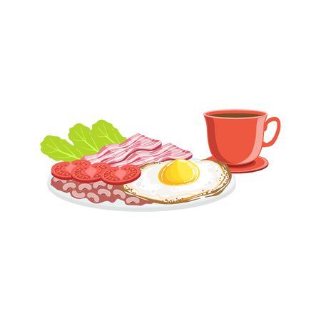 Fried Egg, Bacon And Coffee Breakfast Food And Drink Set. Morning Menu Plate Illustration In Detailed Simple Vector Design.