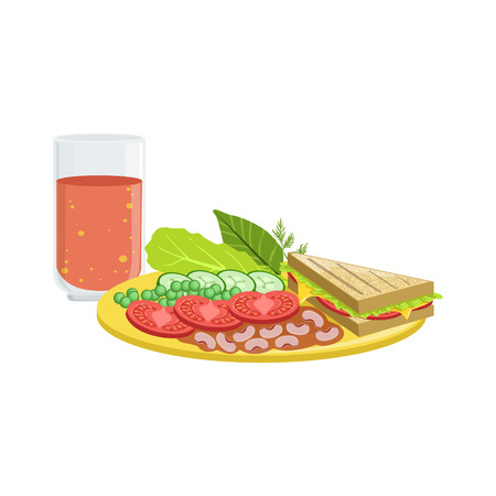 tomato juice: Sandwich, Vegetables And Tomato Juice Breakfast Food And Drink Set. Morning Menu Plate Illustration In Detailed Simple Vector Design.