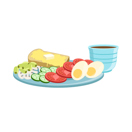 food still: Toast, Egg, Vegetables And Coffee Breakfast Food And Drink Set. Morning Menu Plate Illustration In Detailed Simple Vector Design.