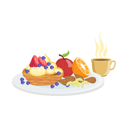 Cake, Fruit And Coffee Breakfast Food And Drink Set. Morning Menu Plate Illustration In Detailed Simple Vector Design.