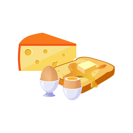 Toast, Cheese And Egg Breakfast Food Elements Isolated Icon. Simple Realistic Flat Vector Colorful Drawing On White Background.