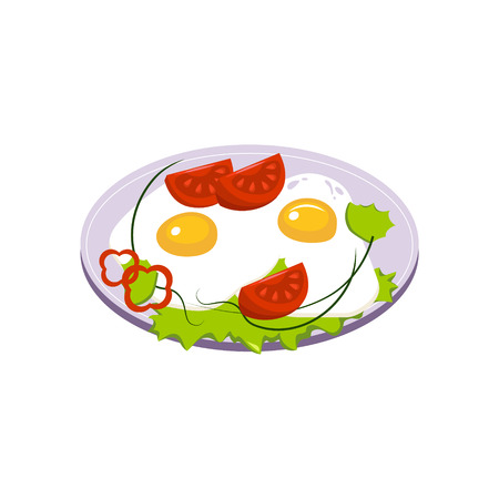 Fried Eggs Breakfast Food Element Isolated Icon. Simple Realistic Flat Vector Colorful Drawing On White Background.