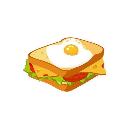 Sándwich de desayuno elemento de alimentos icono aislado. Realista simple plano de dibujo vectorial de colores sobre fondo blanco. Foto de archivo - 64035340