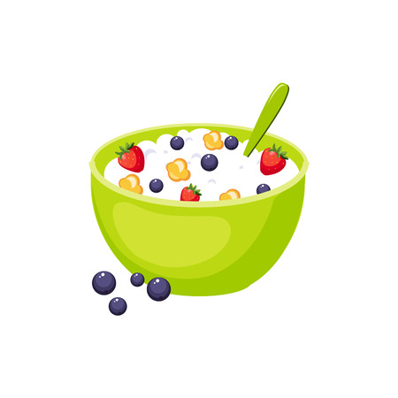 cereals: Cereals Breakfast Food Element Isolated Icon. Simple Realistic Flat Vector Colorful Drawing On White Background.