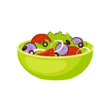 Fresh Salad Breakfast Food Element Isolated Icon. Simple Realistic Flat Vector Colorful Drawing On White Background.