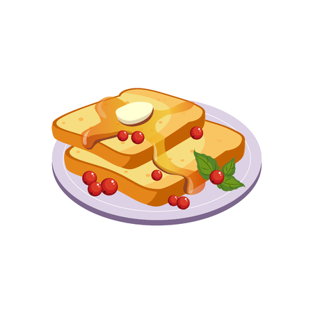 Toasts With Butter Breakfast Food Element Isolated Icon. Simple Realistic Flat Vector Colorful Drawing On White Background.