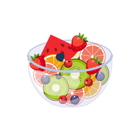 Fruit Salad Breakfast Food Element Isolated Icon. Simple Realistic Flat Vector Colorful Drawing On White Background.