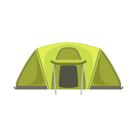 childish: Large Green Bright Color Tarpaulin Tent. Simple Childish Vector Illustration Isolated On White Background