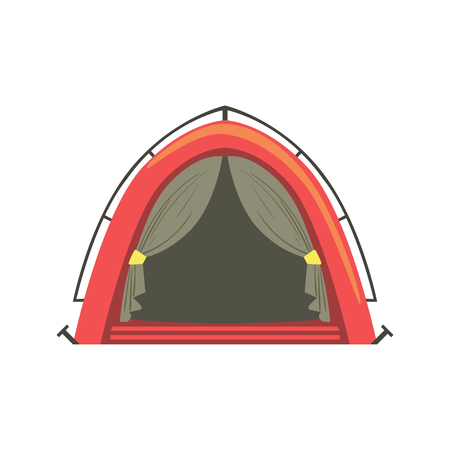 tarpaulin: Small Red Bright Color Tarpaulin Tent. Simple Childish Vector Illustration Isolated On White Background