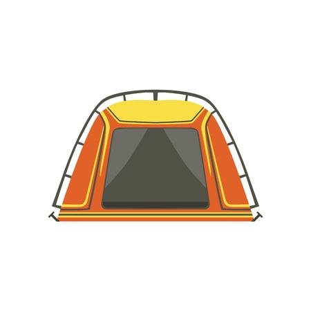 Small Orange Bright Color Tarpaulin Tent. Simple Childish Vector Illustration Isolated On White Background Illustration