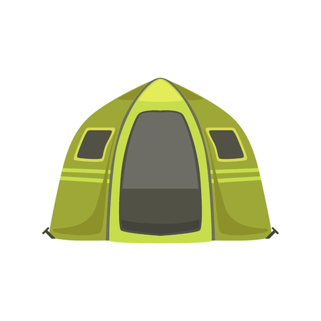 Small Green Bright Color Tarpaulin Tent. Simple Childish Vector Illustration Isolated On White Background Illustration
