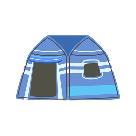 tarpaulin: Stripy Blue Bright Color Tarpaulin Tent. Simple Childish Vector Illustration Isolated On White Background