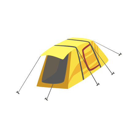 tarpaulin: Small Yellow Bright Color Tarpaulin Tent. Simple Childish Vector Illustration Isolated On White Background