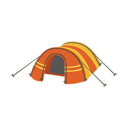 tarpaulin: Arched Orange Bright Color Tarpaulin Tent. Simple Childish Vector Illustration Isolated On White Background