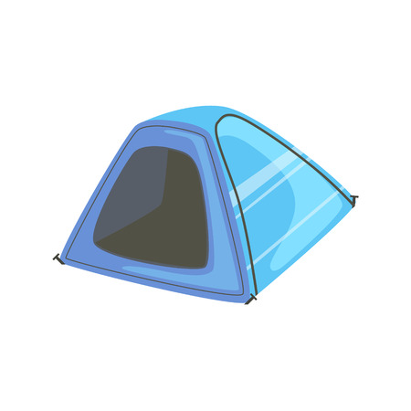 Small Blue Bright Color Tarpaulin Tent. Simple Childish Vector Illustration Isolated On White Background Illustration