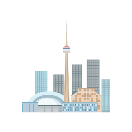 Toronto Skyline View As A National Canadian Culture Symbol. Isolated Illustration Representing Canada Famous Signature On White Background Vector Illustration