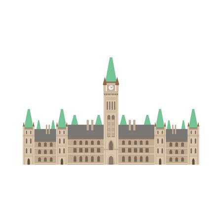 Parlamentsgebäude als nationale kanadische Kultur Symbol. Isolierte Illustration, die Kanada berühmten Unterschrift auf weißem Hintergrund