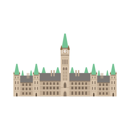 Parliament Building As A National Canadian Culture Symbol. Isolated Illustration Representing Canada Famous Signature On White Background Ilustração