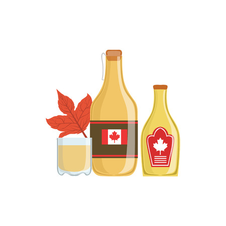 Maple Syrup As A National Canadian Culture Symbol. Isolated Illustration Representing Canada Famous Signature On White Background Illustration