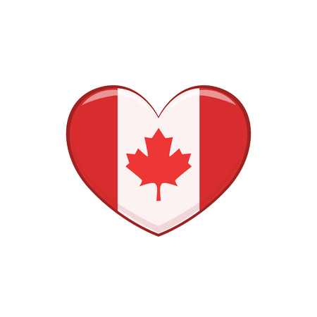 Hear Shaped Flag As A National Canadian Culture Symbol. Isolated Illustration Representing Canada Famous Signature On White Background