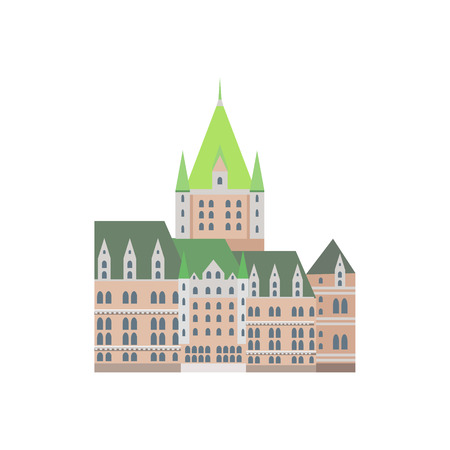 chateau: Castle Frontenac As A National Canadian Culture Symbol. Isolated Illustration Representing Canada Famous Signature On White Background Illustration