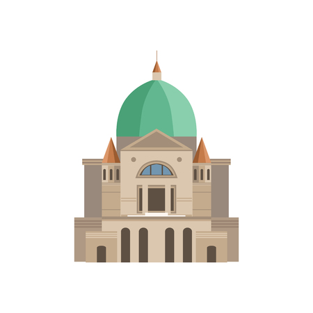 Montreal Basilica As A National Canadian Culture Symbol. Isolated Illustration Representing Canada Famous Signature On White Background