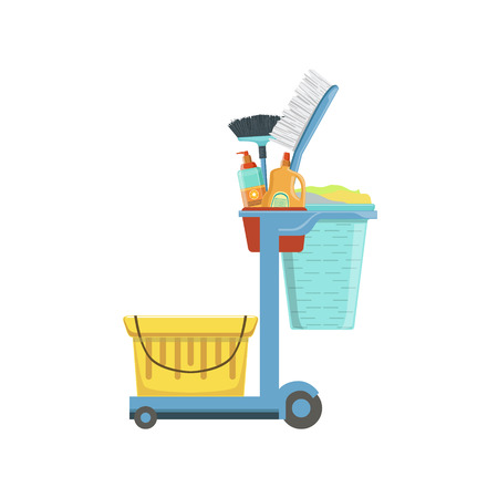 necessities: Professional Clean Up Household Equipment Set. Clean Up Special Objects And Chemicals Composition Of Realistic Objects. Flat Vector Drawing On White Background