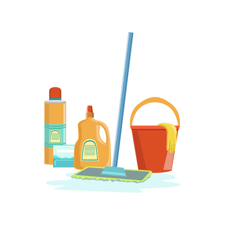 clean up: Floor Washing Household Equipment Set. Clean Up Special Objects And Chemicals Composition Of Realistic Objects. Flat Vector Drawing On White Background