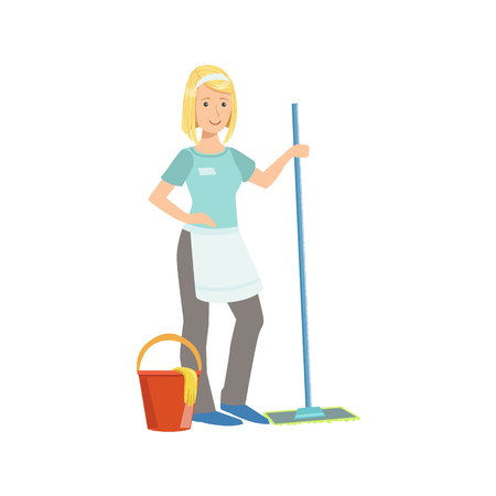office cleanup: Hotel Professional Maid Washing The Floor Illustration. Cleaning Lady Tiding Up With Special Inventory Simple Flat Vector Drawing. Illustration