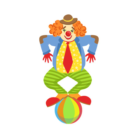 costume ball: Colorful Friendly Clown Balancing On Ball In Classic Outfit. Childish Circus Clown Character Performing In Costume And Make Up.